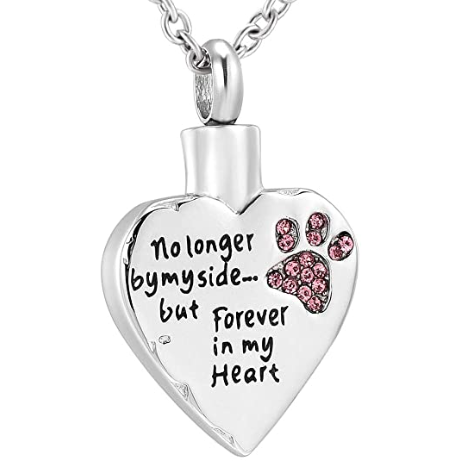 Heart Keepsake Ashes Necklace - Paw Memorial Urn Pendant