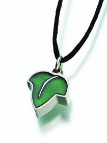 Pewter Green Leaf Keepsake Urn Pendant - Memorials for Pets, Dogs, Cats