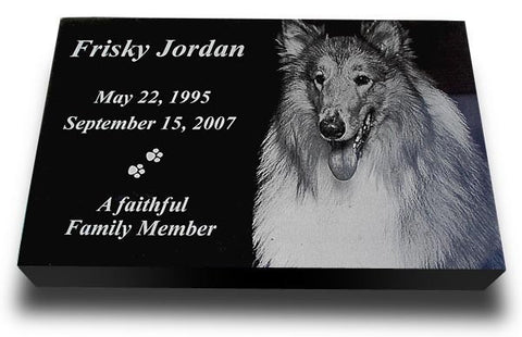 "Premium Granite Pet Grave Marker - 14"" x 9"" (Custom Laser Engraved)"
