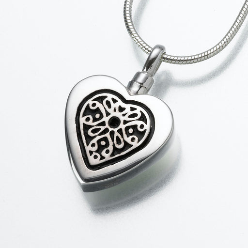Heart Pendant with Filigree Insert Keepsake Urn