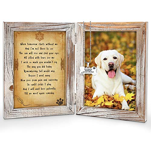 Pet Memorial Picture Frame - Pet Loss Gifts with Tomorrow Start Without Me Poem