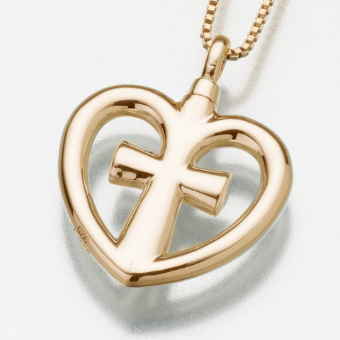 Heart + Cross Keepsake Urn Pendant