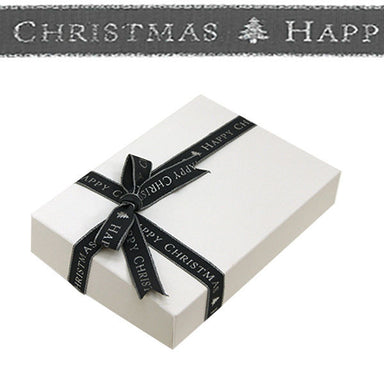 1.5cm Silver Happy Christmas Dark Grey Ribbon 15M Per Reel