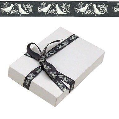 1.5cm White Turtle Doves Grey Ribbon 20M