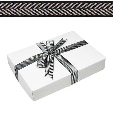 1.5cm Herringbone Chevron Ribbon Black 15m Roll