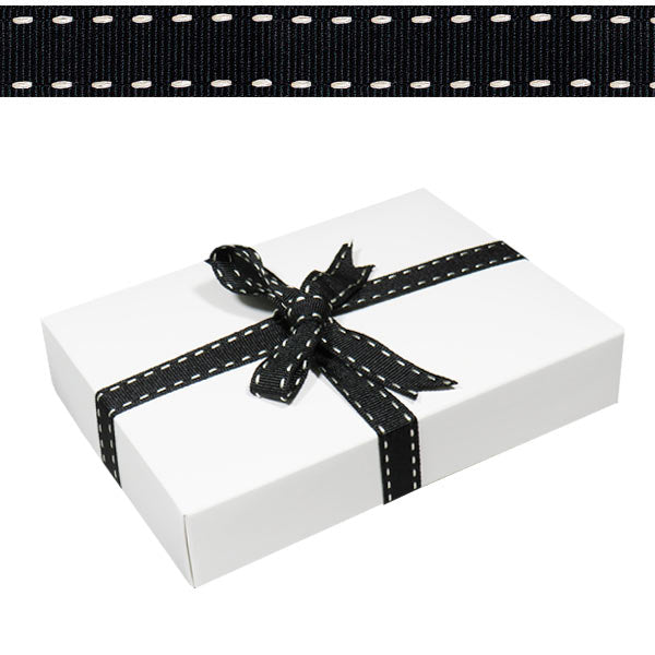 1.5cm Stitched Grosgrain Ribbon Black 15m Roll