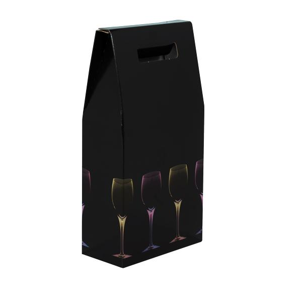 2 Bottle Box Black with Wine Glasses Design