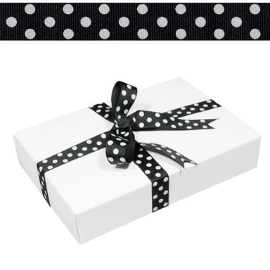 1.5cm Spotty Grosgrain Ribbon Black