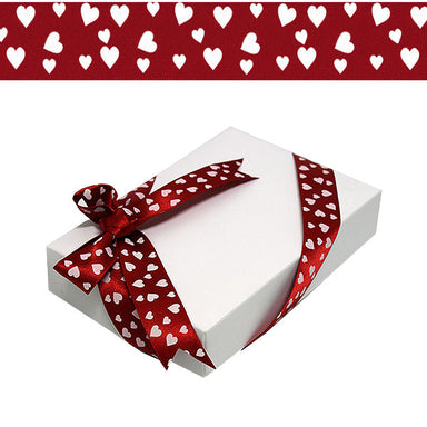 2.5cm DF Satin Ribbon Confetti Hearts 20M Per Reel White on Red