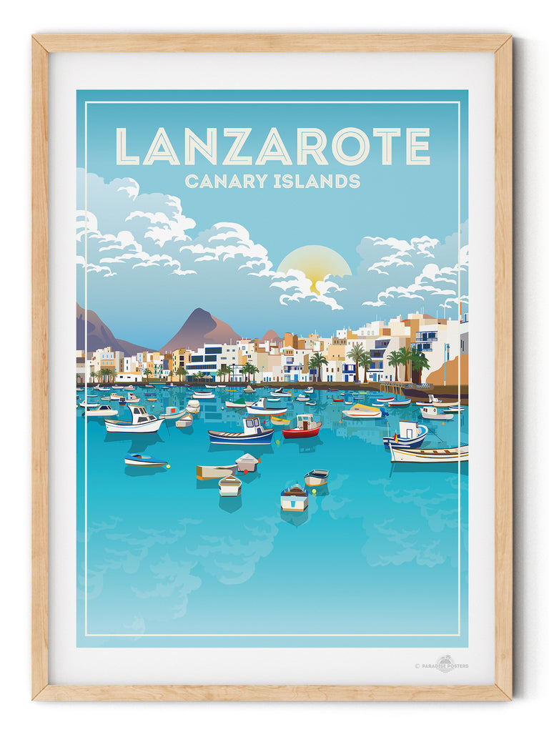 Lanzarote Canary Islands poster print - Paradise Posters Vintage Retro Travel posters Mallorca Majorca