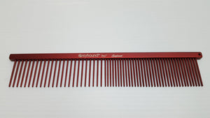 "Ashley Craig GREYHOUND Combs 7.5"" Beauty Medium Coarse/Fine Candy Red"