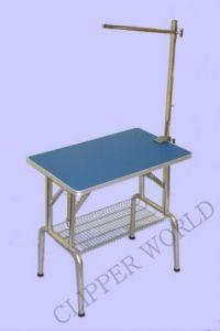 Folding Grooming Table Standard - Blue Top with Grooming Arm