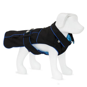 F&R FOR VP PETS 5TH AVENUE COAT - BLACK/BLUE - EXTRA SMALL