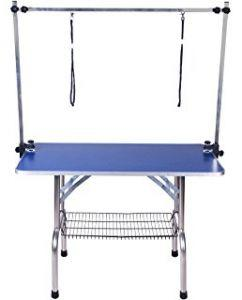Folding Grooming Table Large Blue Top with H Frame