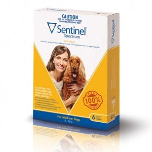 Sentinel Spectrum Chews For Dogs 12-22Kg Yellow 6's