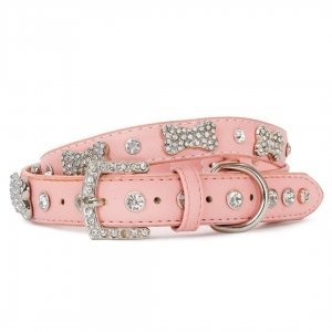 VP Pets Diamond and Bone Leatherette Collar - Pink - MEDIUM