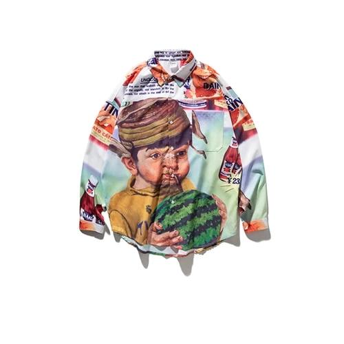 Cartoon Print Long Sleeve Shirt