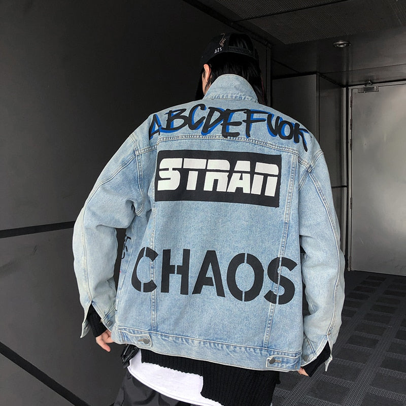 Hip Hop Men Denim Jacket