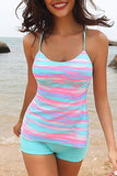Colorful Stripe Print Cute Tankini Set