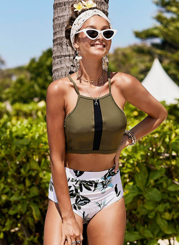 Criss Cross Crop High Waisted Bikini Set