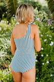 RUCHED ONE SHOULDER ONE PIECE SWIMSUIT IN SEASIDE STRIPE