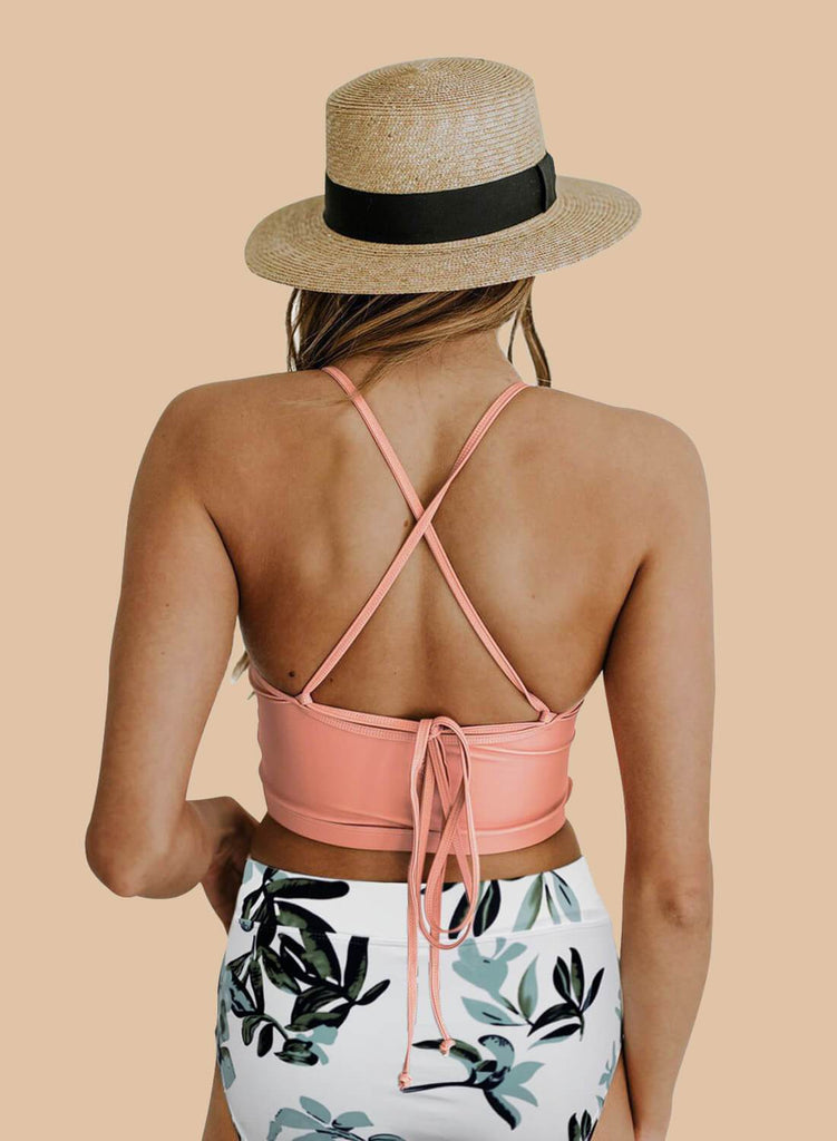 Aleumdr Criss Cross Crop High Waisted Bikini Set (LC411179-10-2)