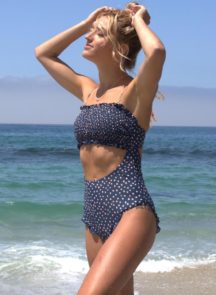 Floral Polka Dot Smocked One-Piece Bikini
