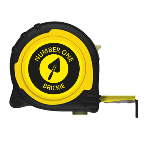 No1 BRICKIE BRANDED TAPE MEASURE - 5M/16FT 8M/26FT