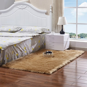 Wool Bedside Mats Artificial Faux Sheepskin Carpet For Living Room Bedroom Floor Mat