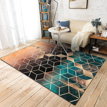 Load image into Gallery viewer, Trend Modern metal golden carpet Dark green/black geometric bedroom carpets for living room
