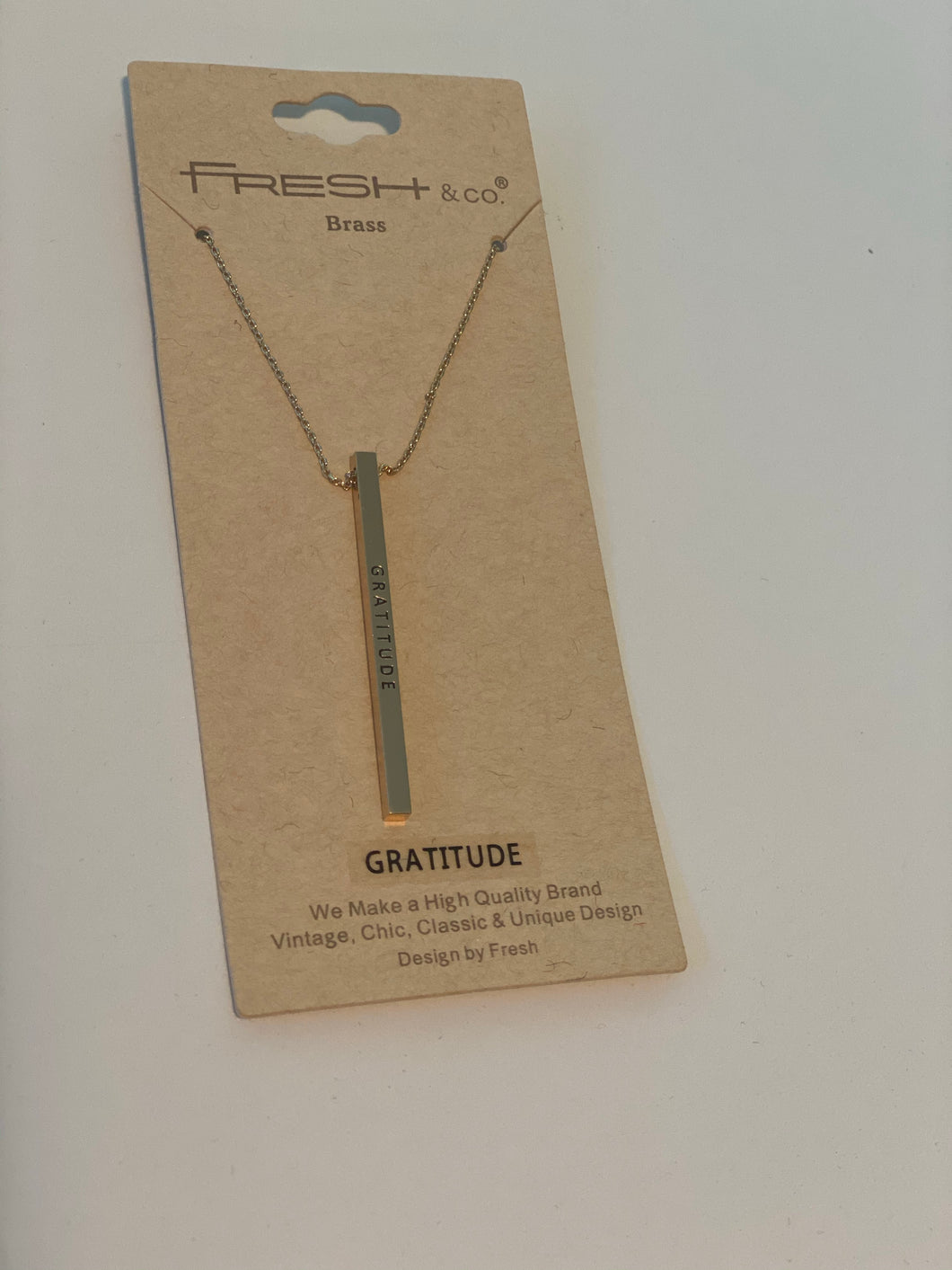 Gratitude Long Bar Necklace