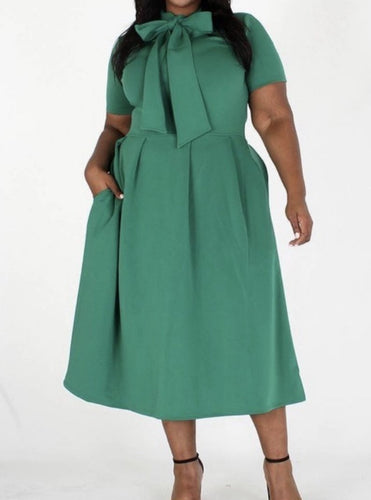 Envy Midi Dress with Neck Tie - Plus