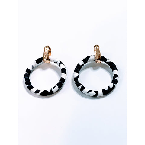 Ashley Fabric Wrapped Circle Earrings
