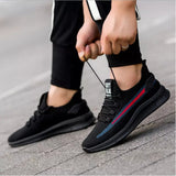 Mr.SHOES 02-Black-Red Imported Men Shoes Breathable Air Mesh Men Slip on Fall Sock Shoes