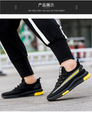 Mr.SHOES 02-Black-Yellow Imported Men Shoes Breathable Air Mesh Men Slip on Fall Sock Shoes
