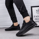 Mr.SHOES Spring and Autumn Running Shoes for Men Trail Casual Mens Shoes Sports Shoes Soulier Homme Artificial PU Black Platform Sneakers