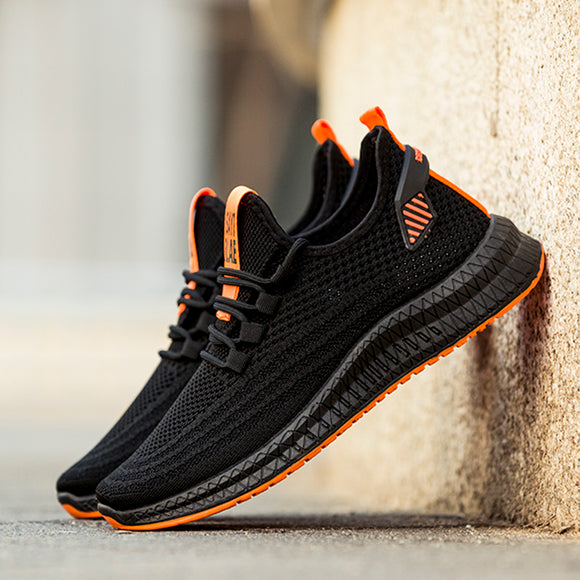 Mr.SHOES 2020 PD-2 Black Orange Fashion flying woven men's running shoes