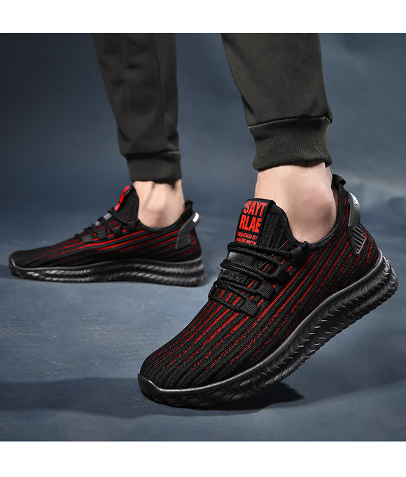 Mr.SHOES 781-Black-Red 2019 new men's shoes lightweight breathable comfortable flat-bottomed sports shoes