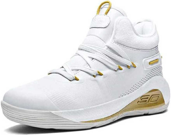 Mr.SHOES  men Air Cushion Basketball Sneakers Anti-skid High-top Basketball Shoes For Men  (White)