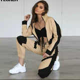 تراكسود بيجي واسود | Black and Beige Tracksuit