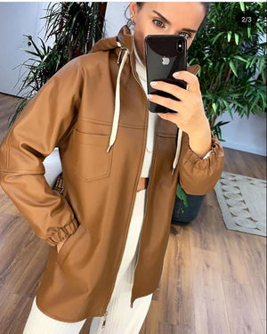 جاكيت جلد بني | Brown Leather Jacket