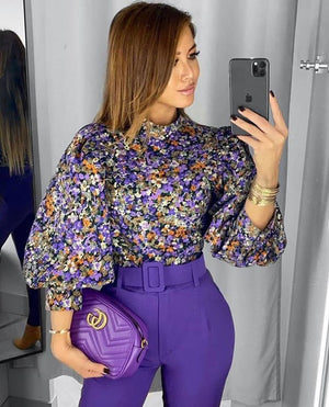 قميص بنفسجي مشجر | Floral Purple Shirt