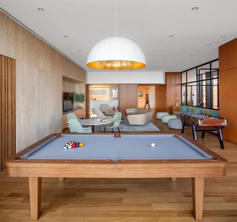 Pool table inside a home