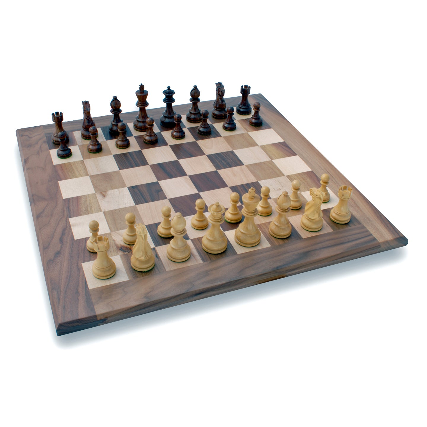"Solid Walnut 21"" Chess Set"