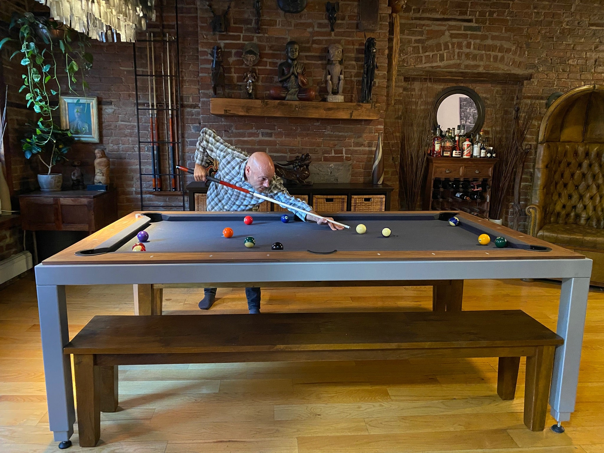 Aramith Steel/Walnut Fusion Dining Pool Table (Consignment)