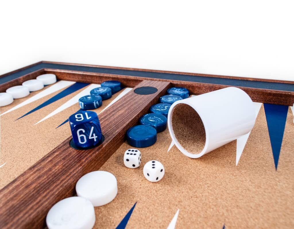 Blue & White Tabletop Backgammon Set - Blatt Billiards