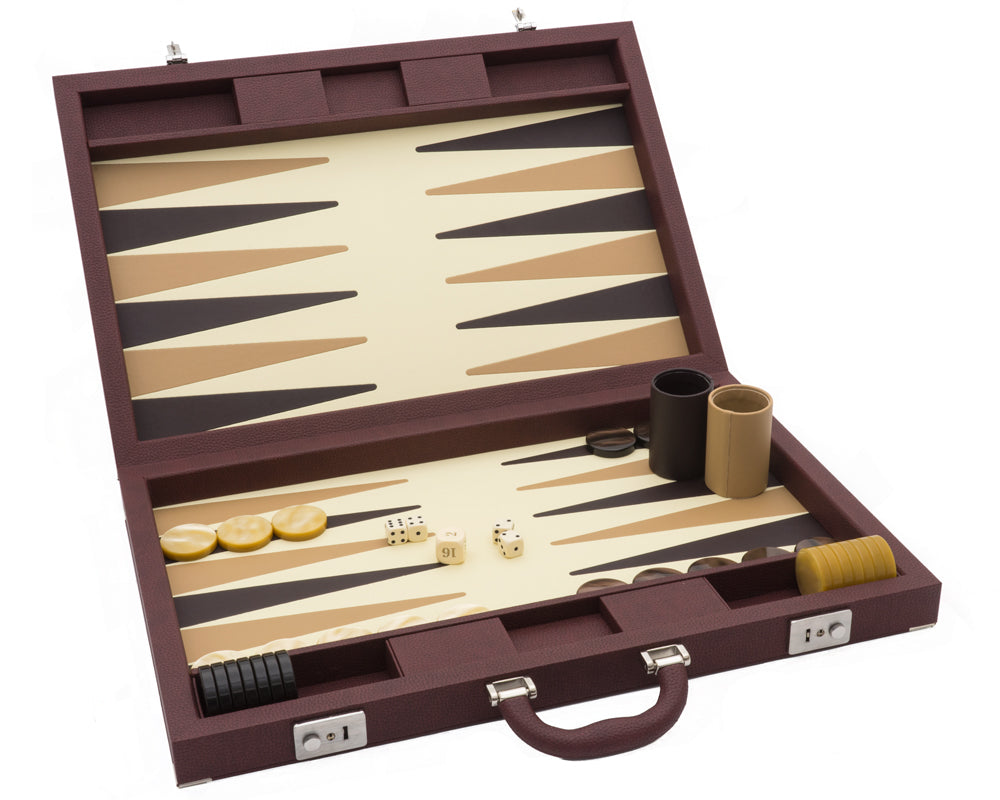 Brown Backgammon Pro Leatherette Set - Blatt Billiards
