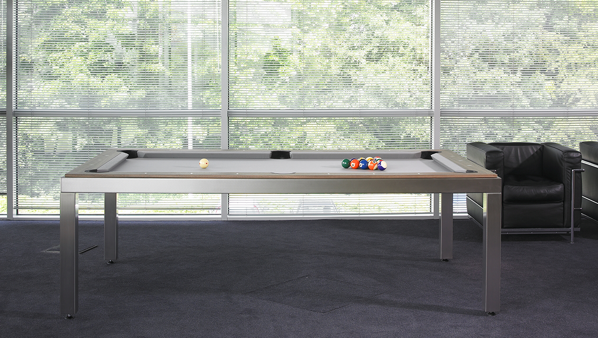 Fusion: Brushed Stainless Steel Legs with Wood Tops - Blatt Billiards