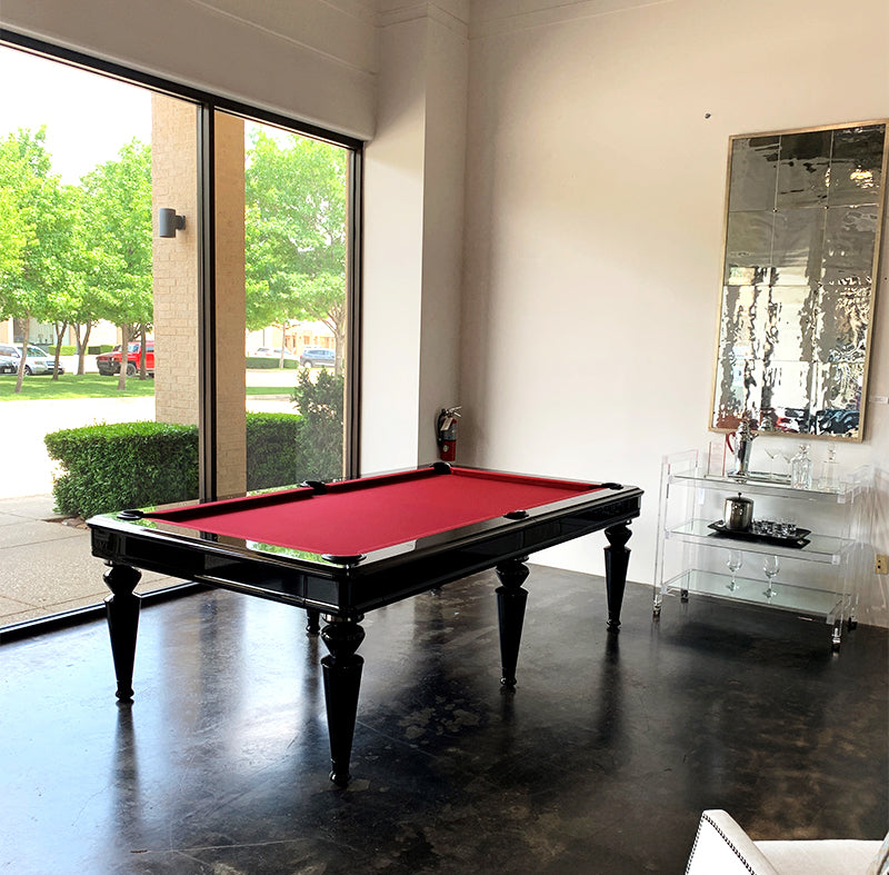 Shot of the Blatt Billiards New York Showroom within, with pool table.