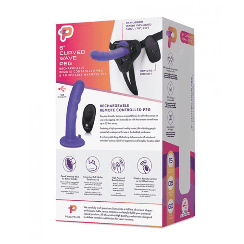 "Pegasus 6"" Rechargeable Curved Wave Peg w/Adjustable Harness & Wireless Remote - Magic Men Australia, Pegasus 6"" Rechargeable Curved Wave Peg w/Adjustable Harness & Wireless Remote, Dildos"